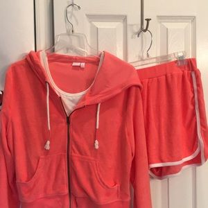 Terry cloth two piece set, Peach, Top Zippers/Hood
